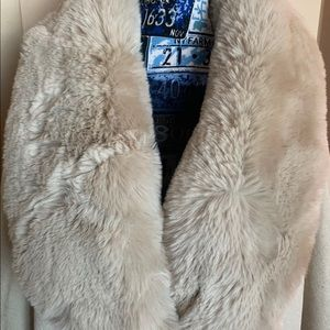 Cream Faux fur wrap with fur collar and sleeves